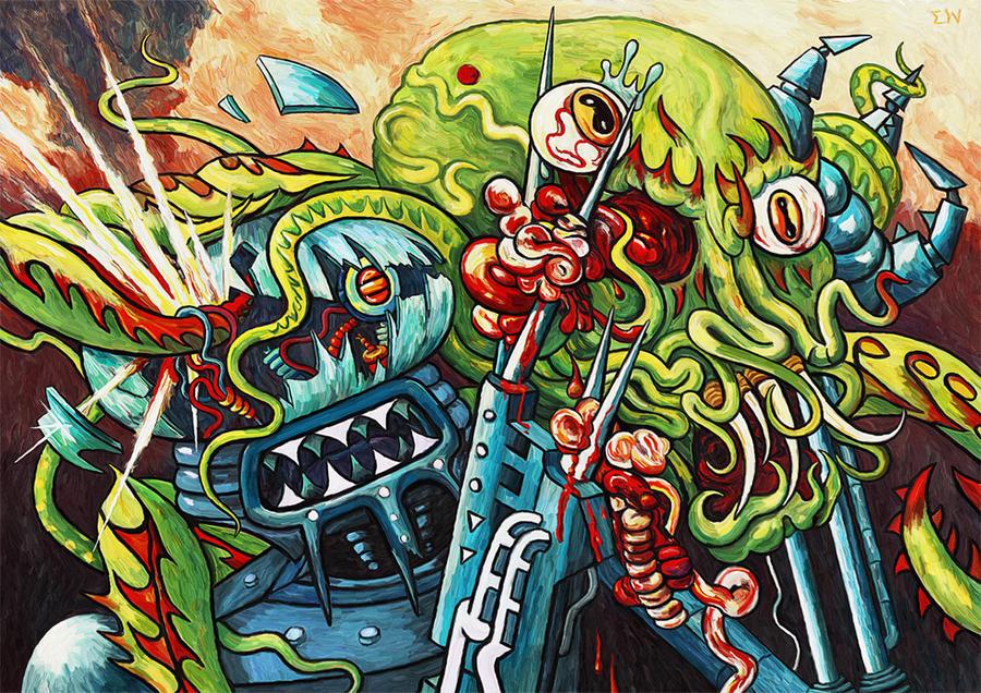 Robot Vs Monster by Art-of-Eric-Wayne