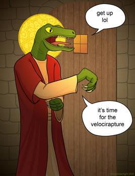 Raptor Jesus Knocking on the Door