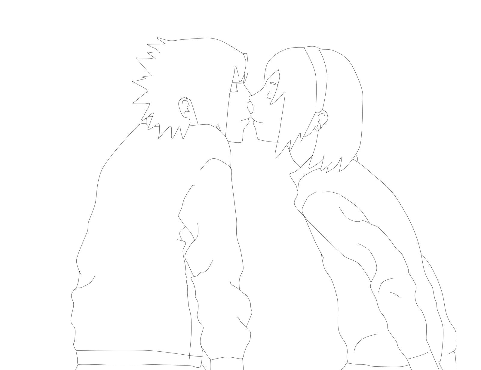 Line Drawing Kiss : Sasusaku kiss lineart by ch rryb rry on deviantart