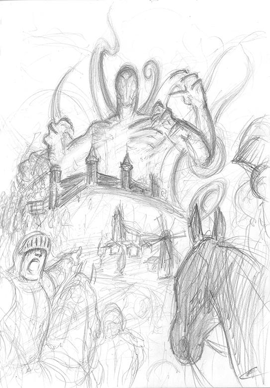 Eldrazi destroying Castle scribble by Gallardose