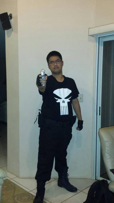 Punisher with Dirty Laundry Skull Symbol Cosplay  by DTrinidad