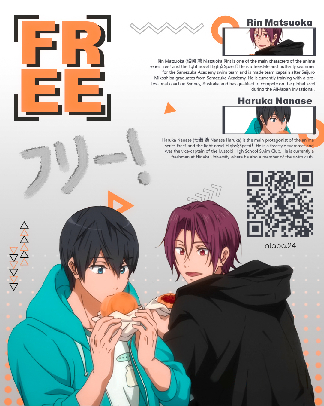 Free Haruka Nanase Rin Matsuoka By Alapa24 On Deviantart Rin specializes in butterfly and freestyle. free haruka nanase rin matsuoka by