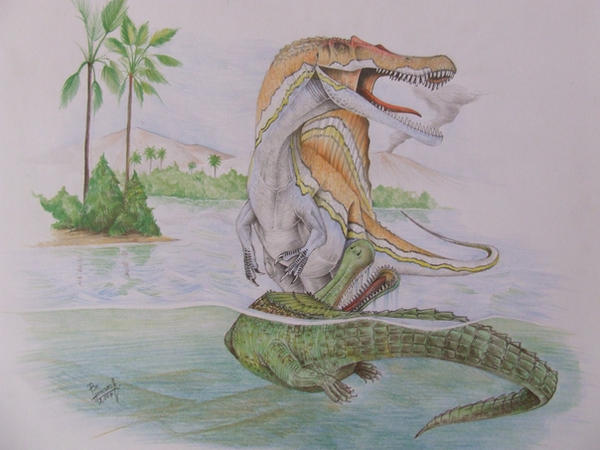 Spinosaurus and Sarcosuchus by T-PEKC on DeviantArt