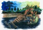 Allosaurus in tarry pit
