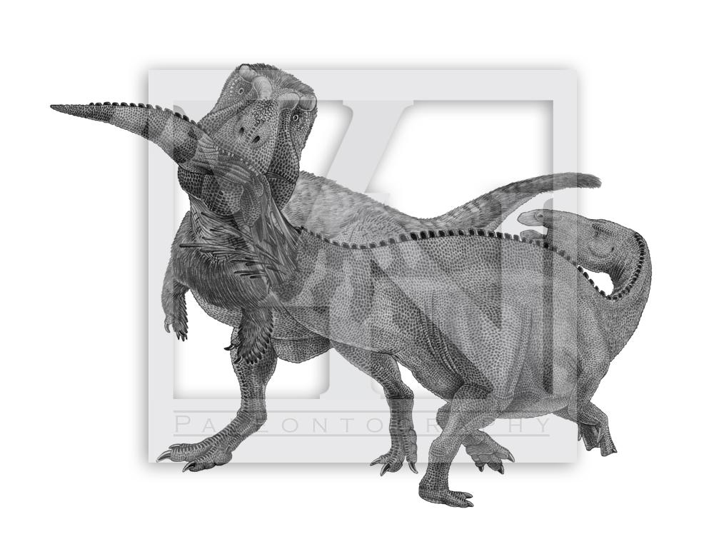 Tyrannosaurus rex attacks Edmontosaurus annectens by T ...