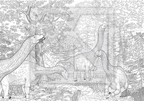The Sauropod Forest -line art