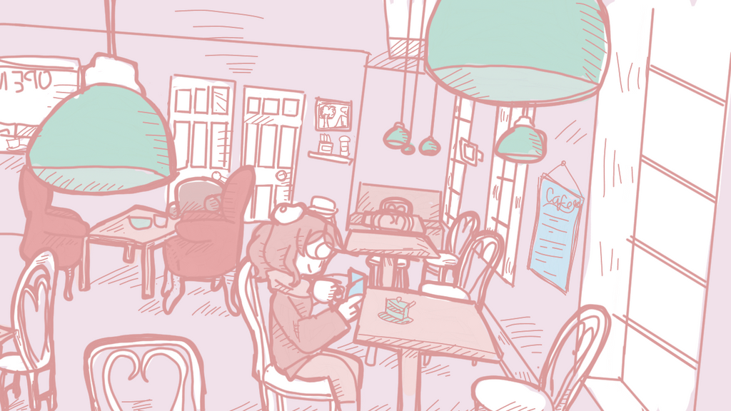 Reading in the cafe by justarandomfruit