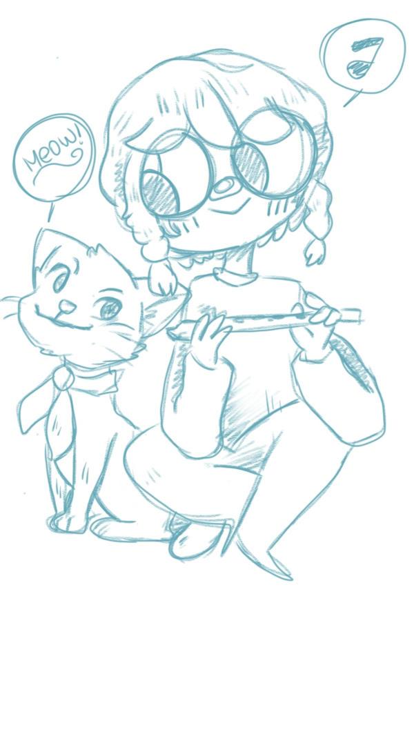 The feline and their friend -Sketch by justarandomfruit