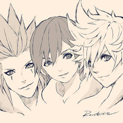 Kingdom Hearts - Axel, Xion and Roxas. by Rousteinire