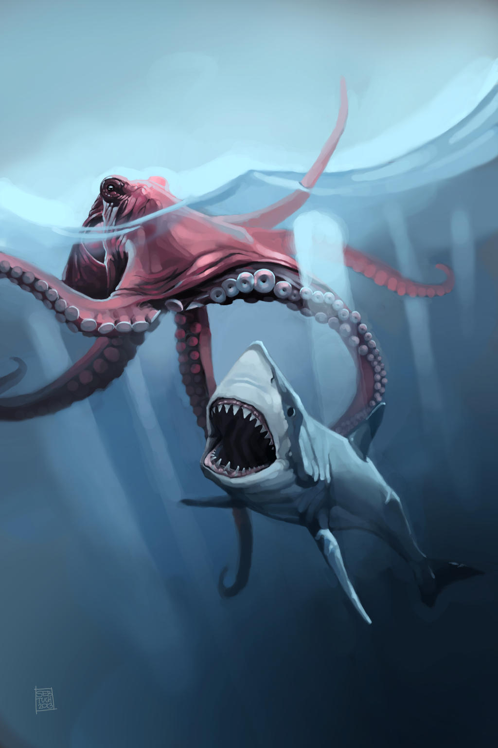 Giant Squid Vs Megalodon