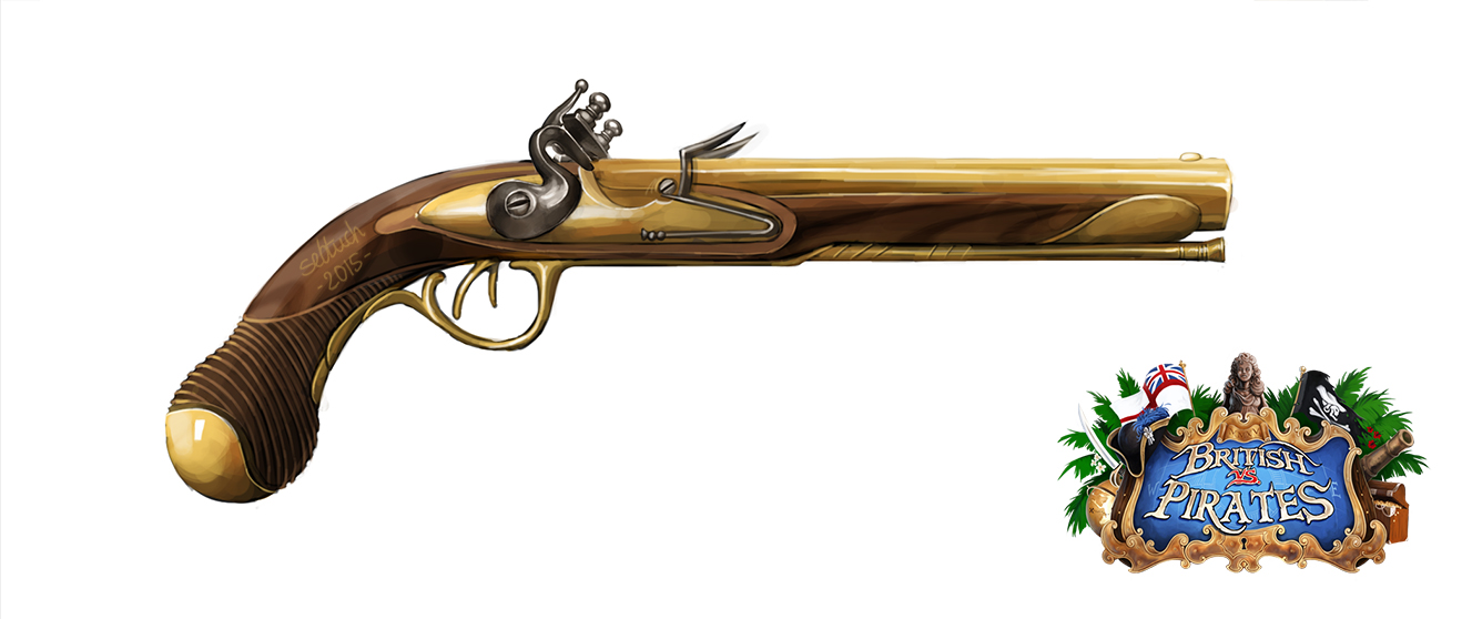 French Double Barrel Fintlock Pistol by sebtuch