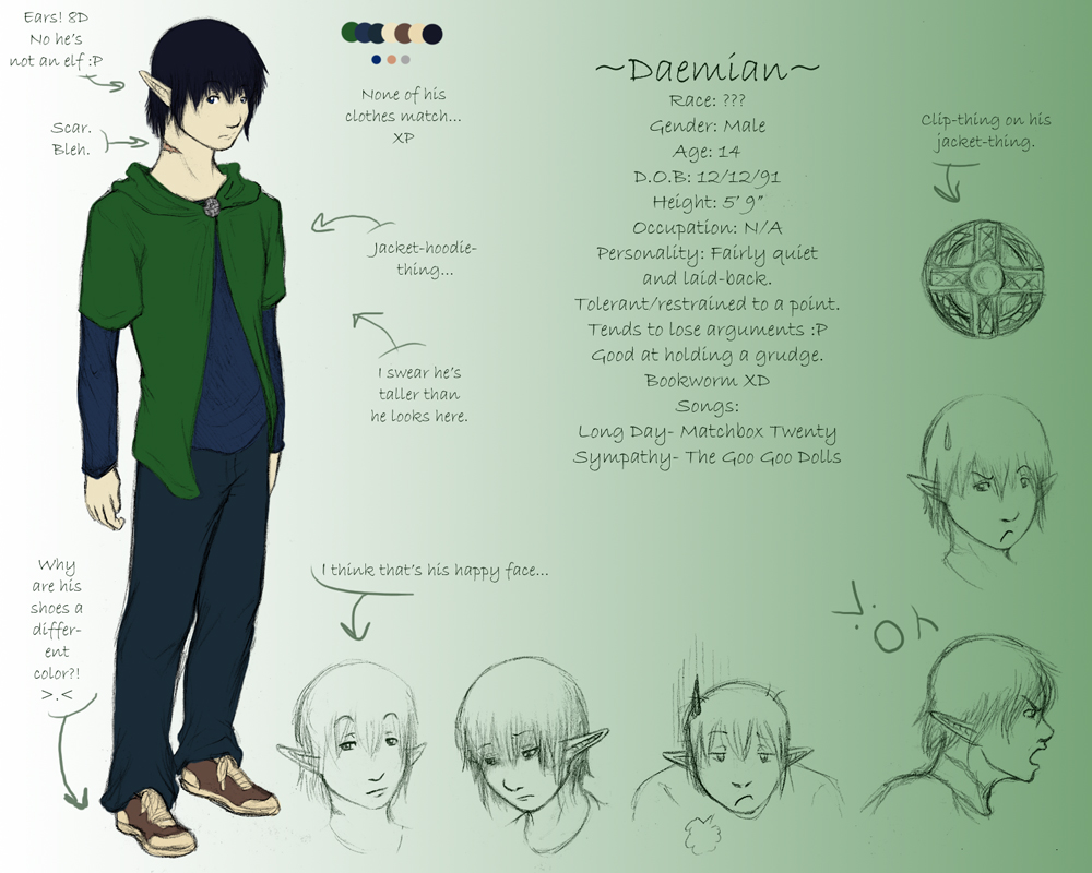 Daemian- Ref Sheet by Lunaromon