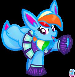 Rainbow Eevee Cheerleader Vector