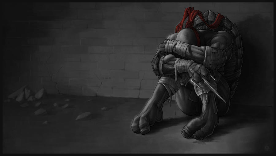 *RAPHAEL* goodbye, my brothers... greyscale by DeadPea