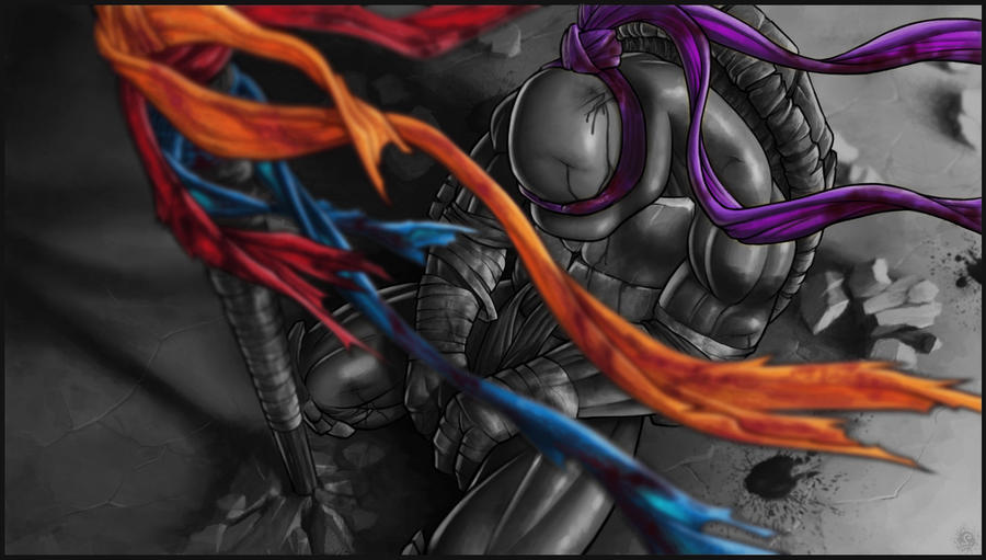 *DONATELLO* goodbye, my brothers... greyscale by DeadPea