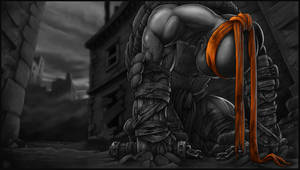 *MICHELANGELO* goodbye, my brothers... greyscale by DeadPea