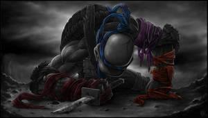 *LEONARDO* goodbye, my brothers... greyscale by DeadPea