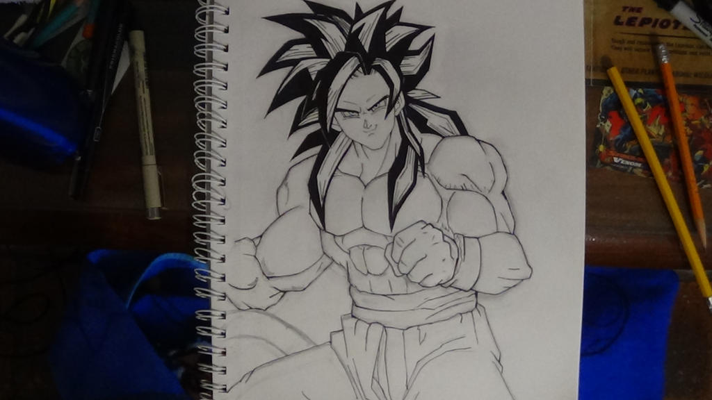Line Art Dragon : Super saiyan goku line art dragon ball gt by