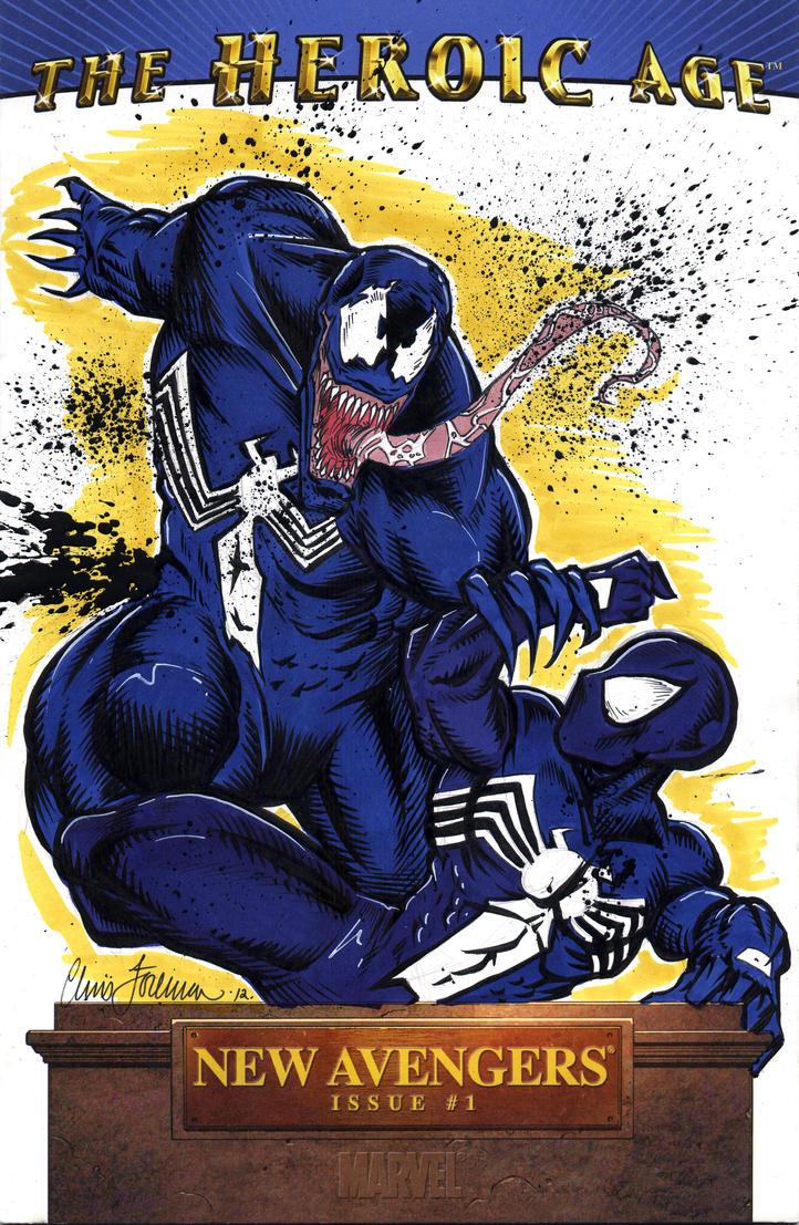 Spiderman vs Venom Sketch Cover by Foreman by chris ...