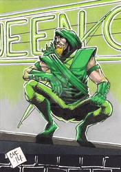 Green Arrow Psc Sketch Card Aceo Atc Dc Comics