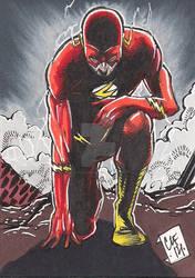 Flash Psc Sketch Card Aceo Atc Dc Comics Chris