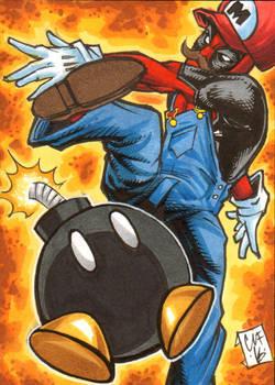 Deadpool Mario Sketch Card Chris Foreman Marvel