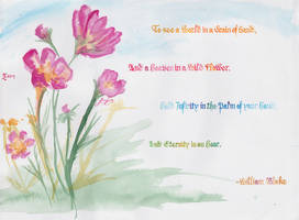 William Blake Poem - Pink Flowers by xenizondich