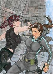 Lara VS Doppelganger by nijuuhachi