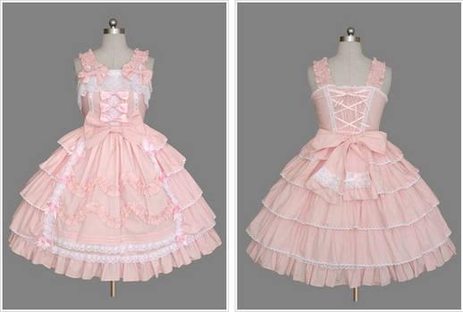 Light Pink and White Sleeveless Sweet Lolita Dress