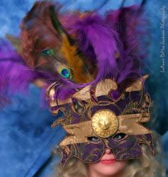 Silk Mask Purple Gold Stripes
