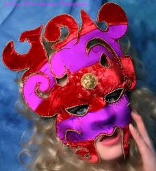 Silk Mask Red n Purple Stripes
