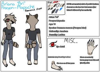 Ariana Procyon-Mapache (fursona reference sheet)