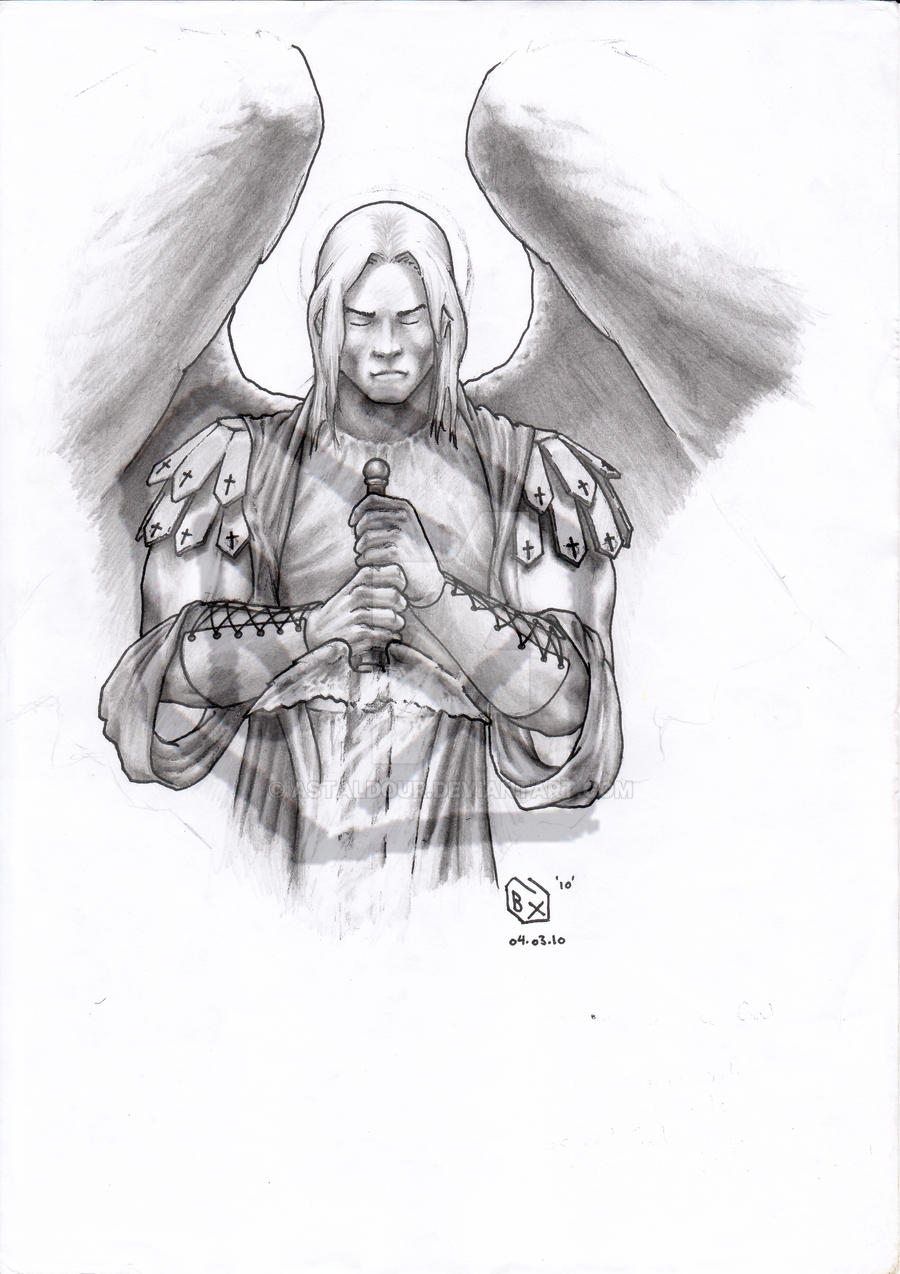 St Michael the Archangel BW by Astaldour on DeviantArt