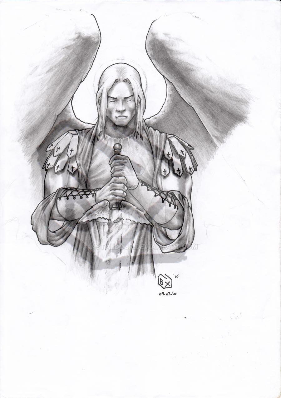 St Michael the Archangel BW by Astaldour on DeviantArt