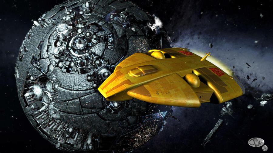 Ark-orbiting Cybertron by MagusTheLofty on DeviantArt