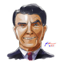 Cartoon Ronald Reagan by TurnThePhage