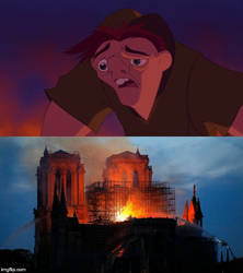 Quasimodo see's Notre Dame on fire by jgodzilla1212