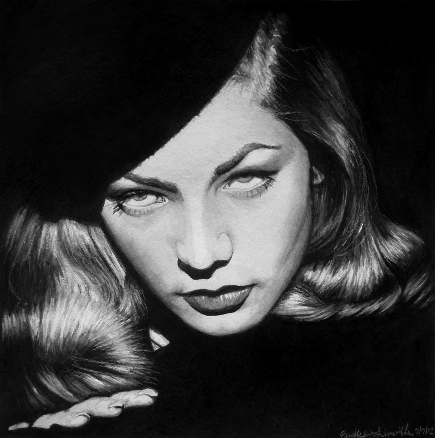 Realistic Watercolor Portraits Bacall Watercolor Portrait