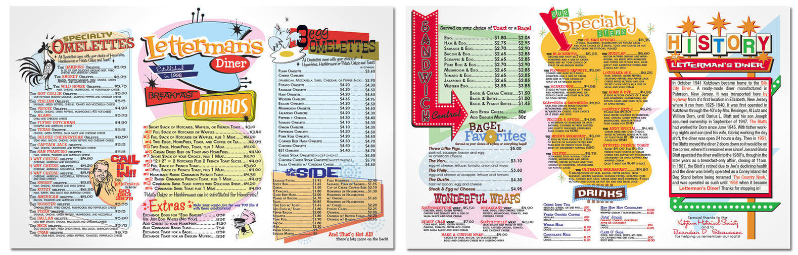 Lettermans Diner Menu By Aaronshupp