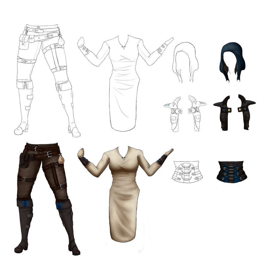 Inquisitor!Amell clothing sheet. by NellyMonster
