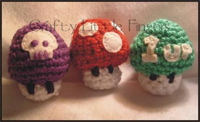 Mario Mushrooms by craftylittlefingers