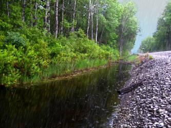 Rain Splashing in Puddle by DaLeahWeathers
