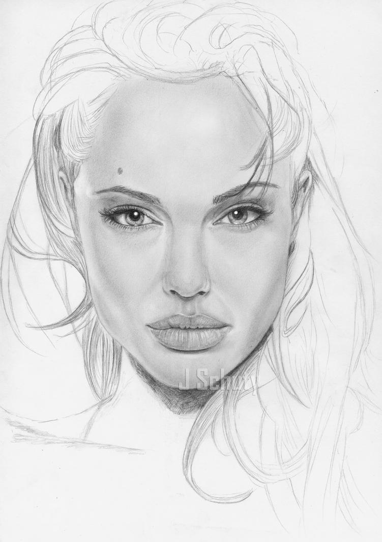 The Gallery For --u0026gt; Angelina Jolie Face Drawing
