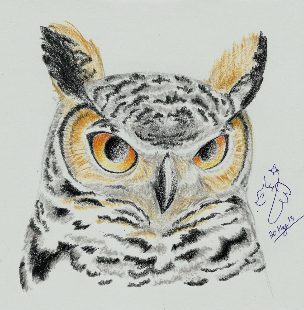 great horned owl by winged dragoness on deviantart