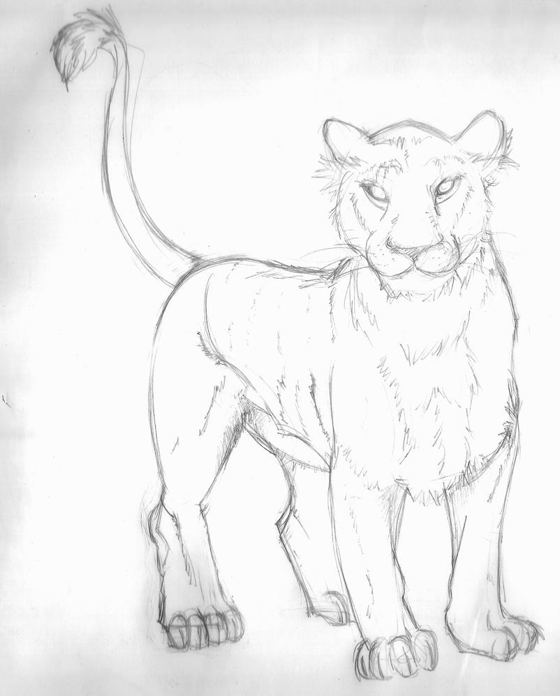Pencil Lioness by Winged-Dragoness