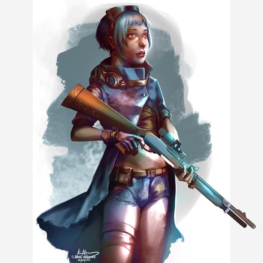 Skylit Blue Steampunk Girl by SavilleHyde