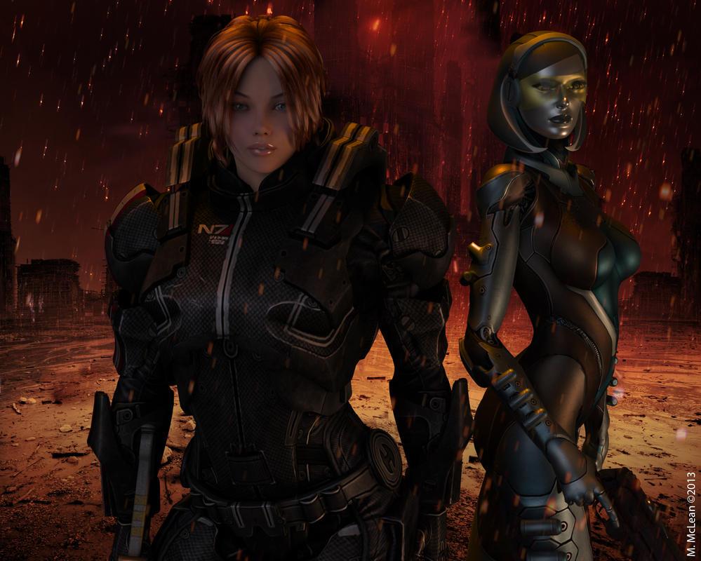 Shepard and EDI by SaikoMM
