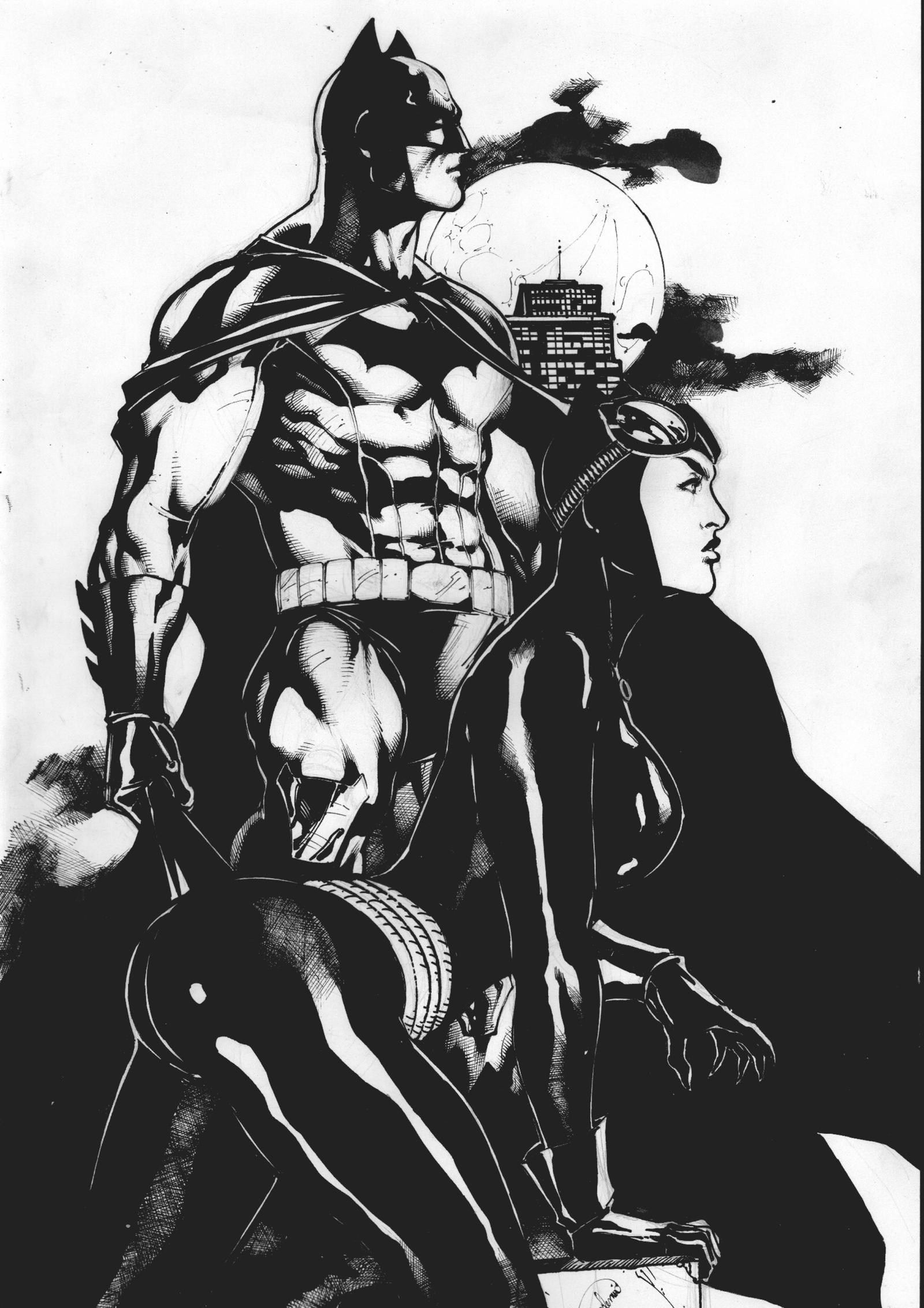 BATMAN and CATWOMAN - PENCIL and INK - by GARDENIO by Ed-Benes-Studio