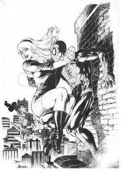 Gwen Stacy and Spider-Man. Pencil by Diego Bernard