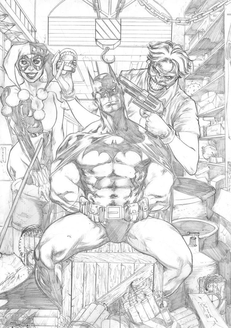 Batman, Harley Quinn and Joker by Carlos Silva by Ed-Benes-Studio